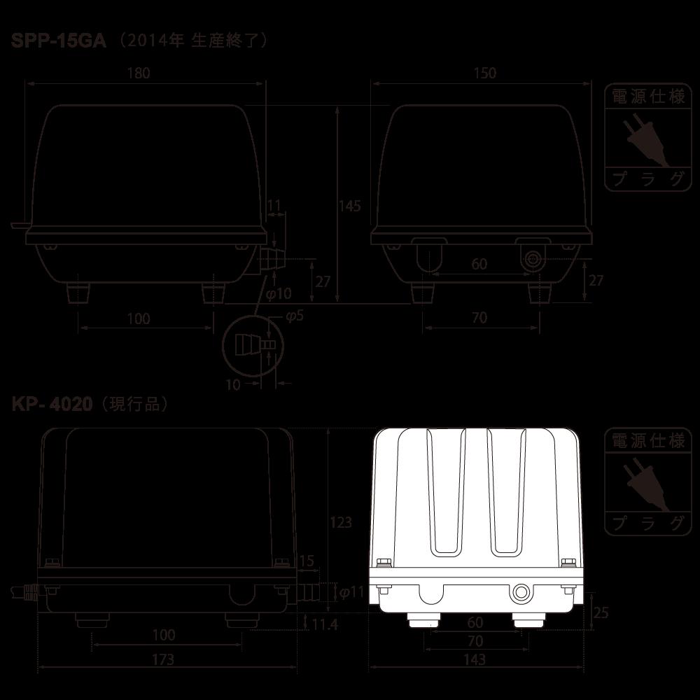 テクノ高槻 エアーポンプ SPP-15GA KP-4020 外形図 比較