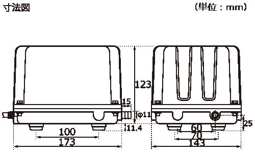 テクノ高槻 エアーポンプ KP-4020 KP-5030 KP-6035 外形図