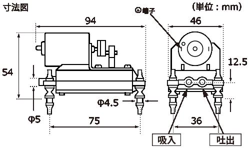テクノ高槻 エアーポンプ ML-6B ML-6BS 外形図