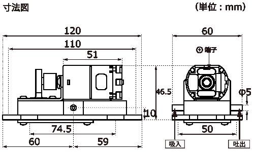 テクノ高槻 エアーポンプ MR-6B MR-6BS 外形図
