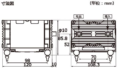 テクノ高槻 エアーポンプ VP-4020S VP-5030S VP-6035S 外形図